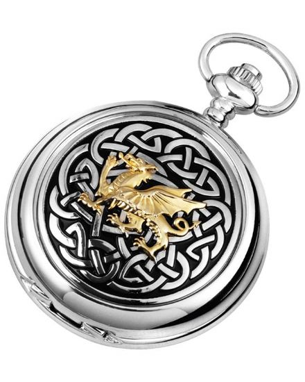 'Celtic Dragon' Quartz Pocket Watch with Chain